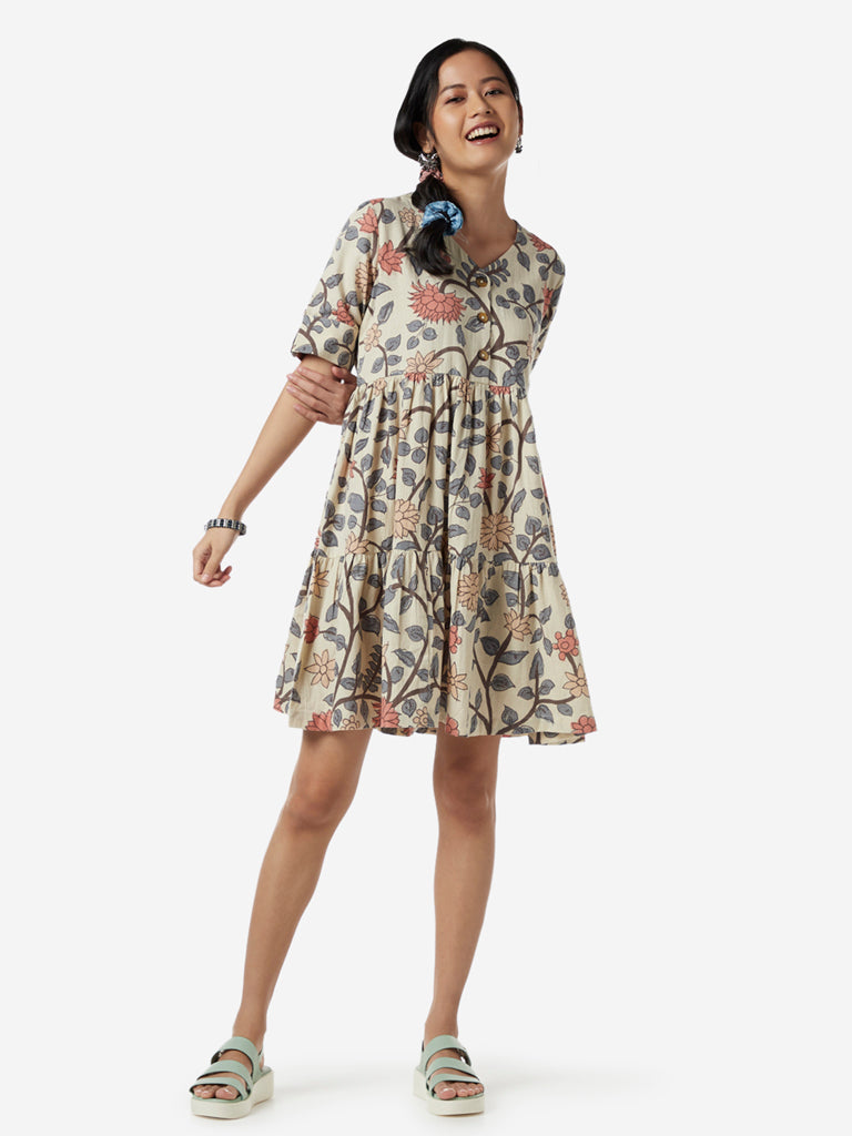 Bombay Paisley Multi Floral Fit-And-Flare Dress
