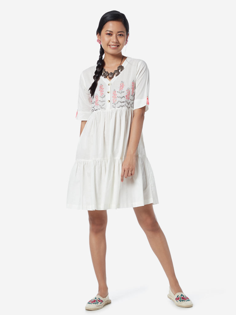 Bombay Paisley White Fit-And-Flare Dress