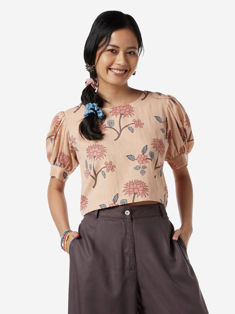 Bombay Paisley Peach Floral Print Crop-Top
