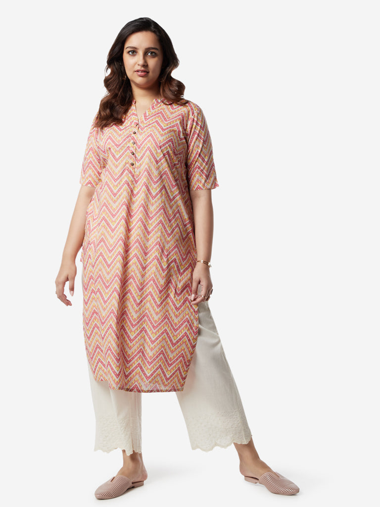 Diza Curves Peach Chevron Pattern Straight Kurta