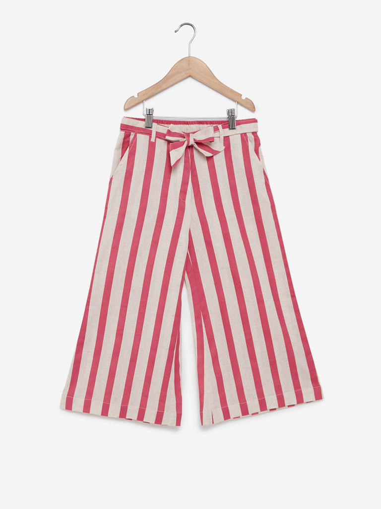Utsa Kids Pink Striped Palazzos