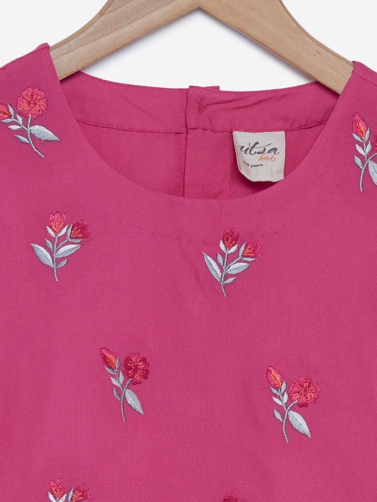 Utsa Kids Pink Floral Embroidered Crop-Top