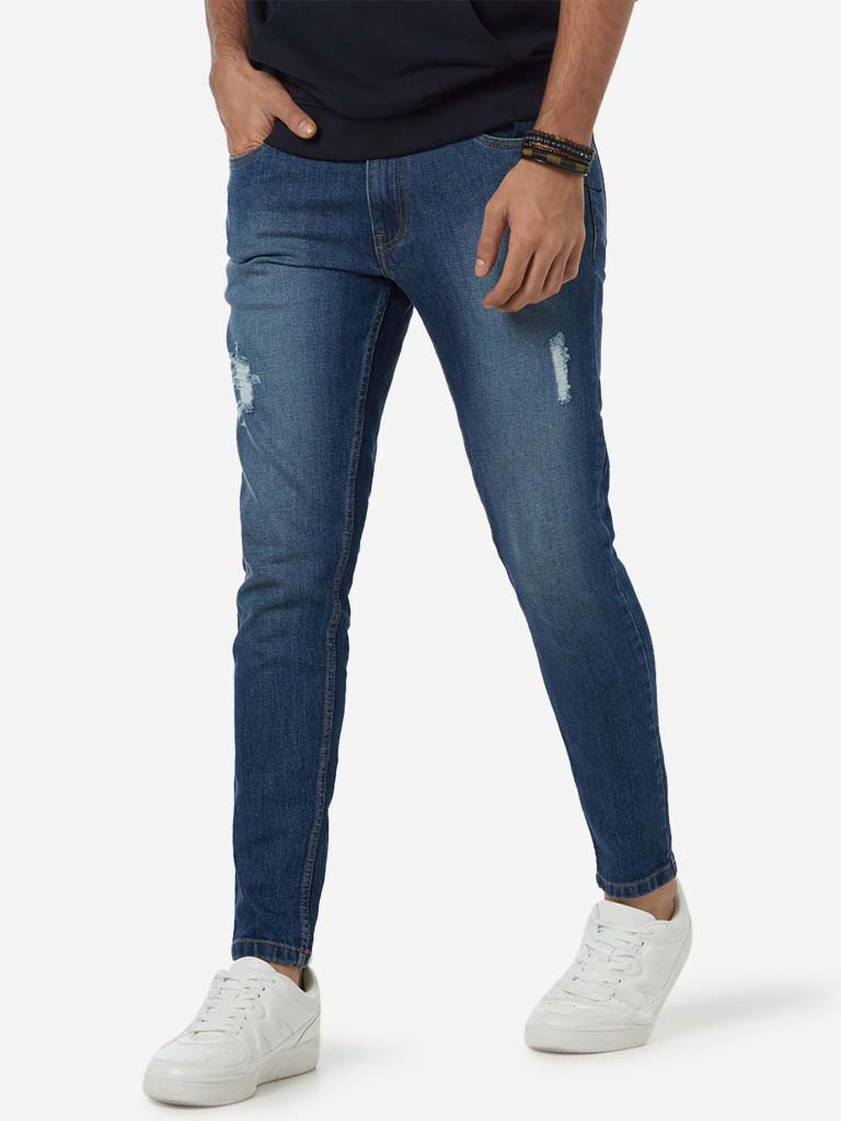 Nuon Blue Distressed Rodeo Carrot Fit Jeans