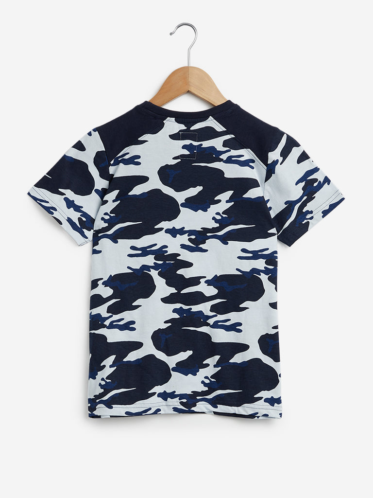 Y&F Kids Navy Camouflage Pattern T-Shirt
