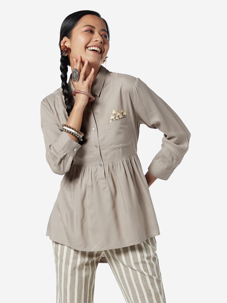 Bombay Paisley Grey High-Low Ethnic Top
