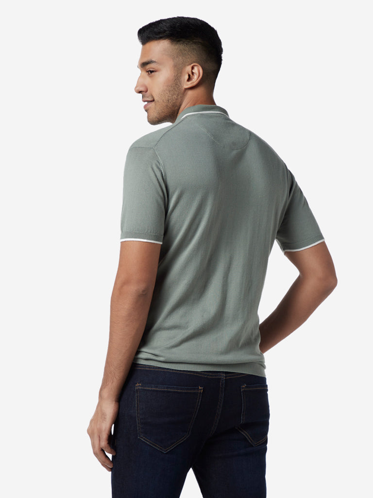 Ascot Sage Green Slim Fit Polo T-Shirt