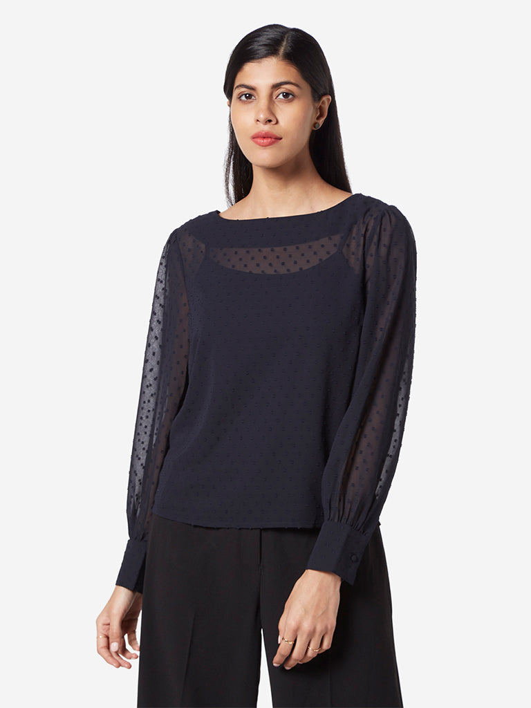 Wardrobe Navy Patterned Dobby Top With Camisole