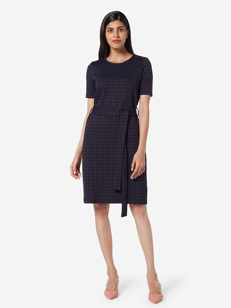 Wardrobe Navy Checkered Dress With Belt