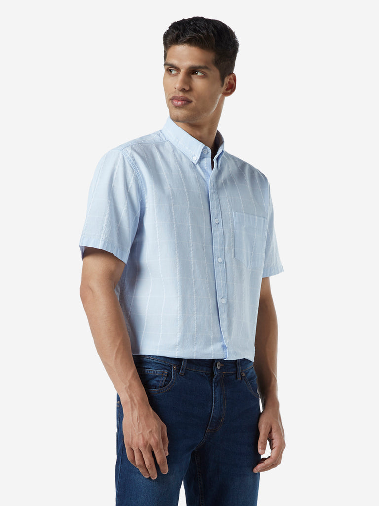 WES Casuals Light Blue Checked Relaxed Fit Shirt