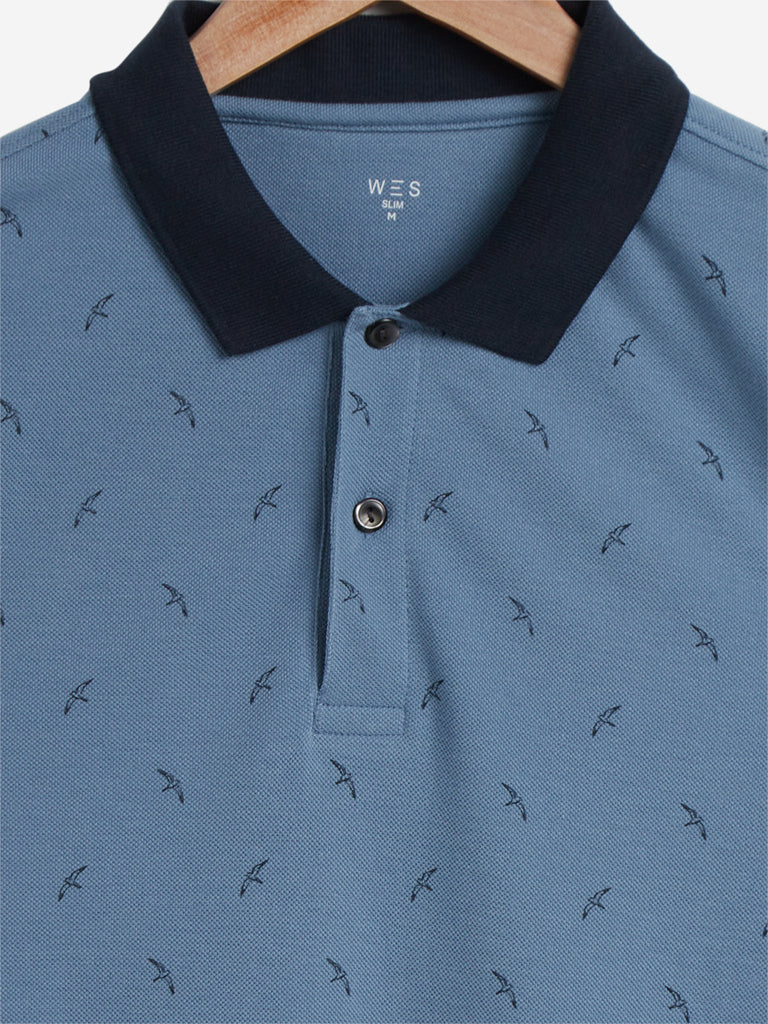 WES Casuals Blue Printed Slim Fit Polo T-Shirt