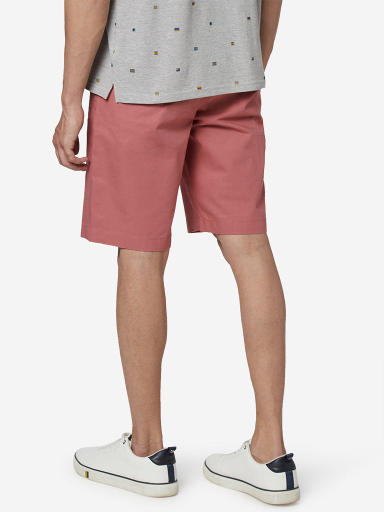 WES Casuals Dark Coral Relaxed Fit Shorts