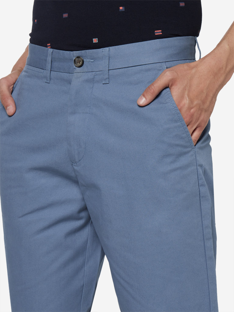 WES Casuals Blue Relaxed Fit Shorts