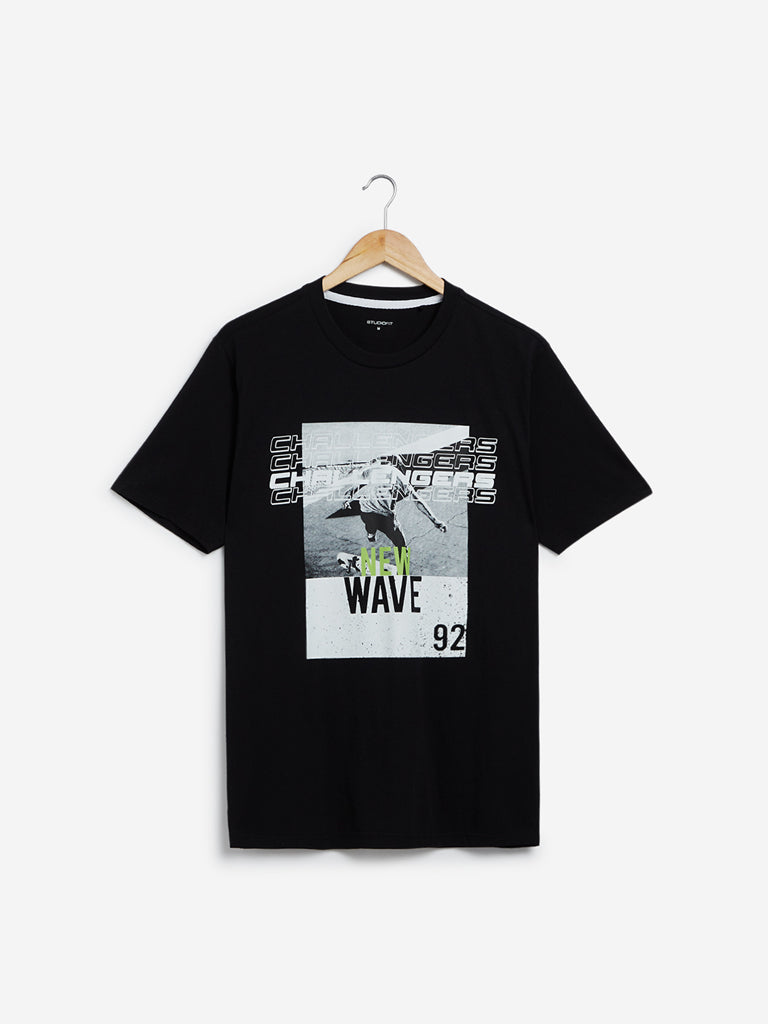 Studiofit Black Graphic Print Slim Fit T-Shirt