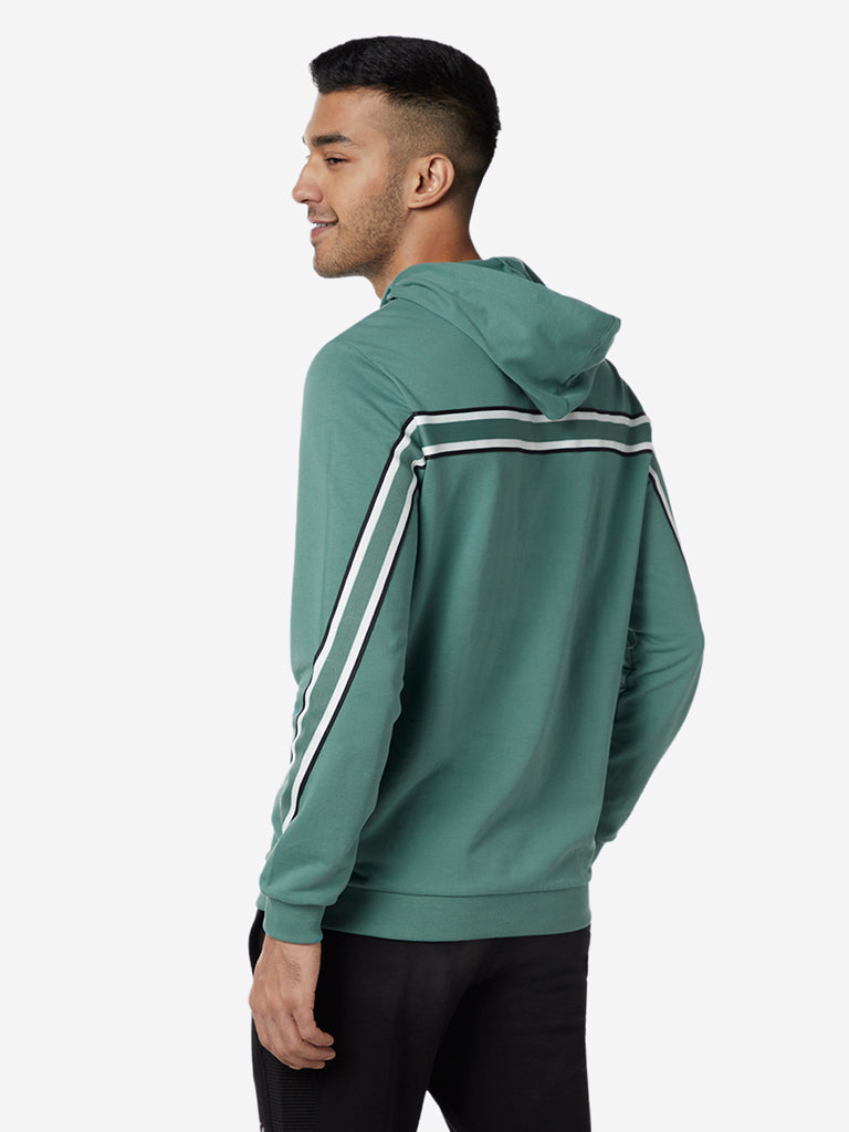 Nuon Sage Green Printed Hooded Sweatshirt