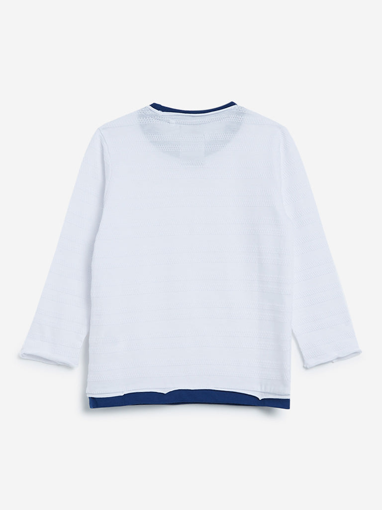 HOP Kids White Pure Cotton T-Shirt