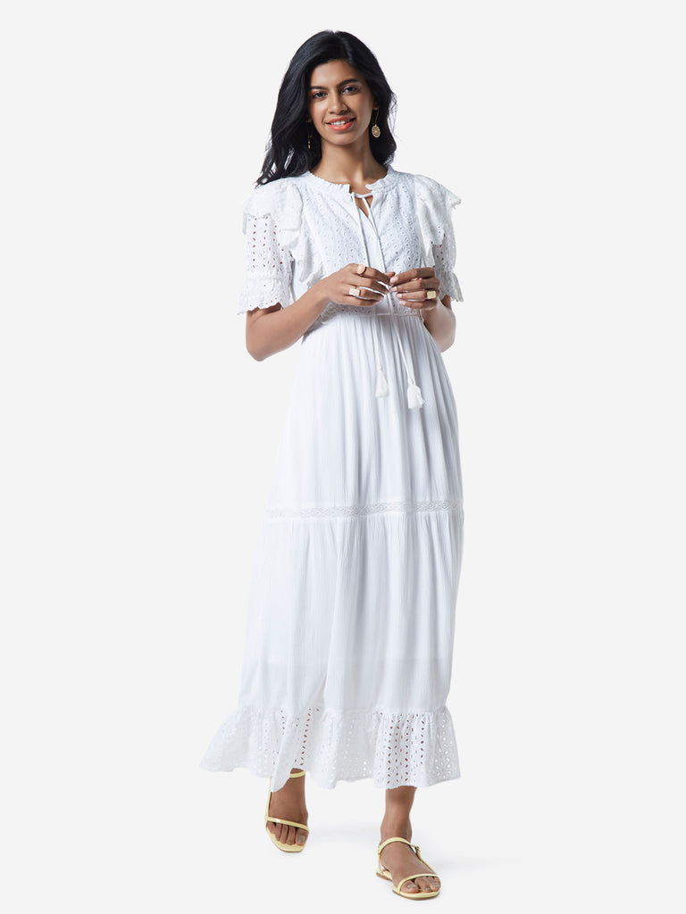 LOV White Cut-Out Detailed Perkin Maxi Dress