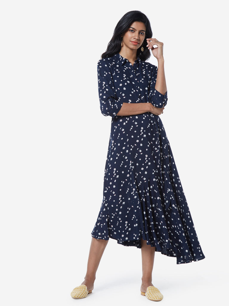 LOV Navy Floral Abel Shirtdress With Belt