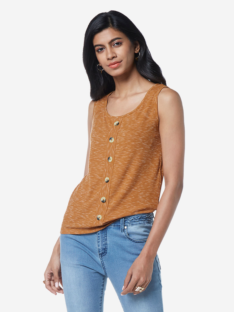 LOV Tan Knitted Tesia Top