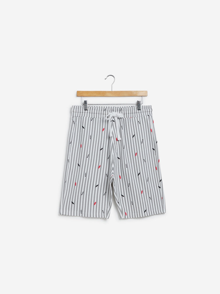 WES Lounge White Printed Relaxed Fit Shorts