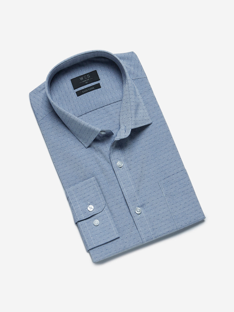 WES Formals Blue Patterned Slim Fit Shirt