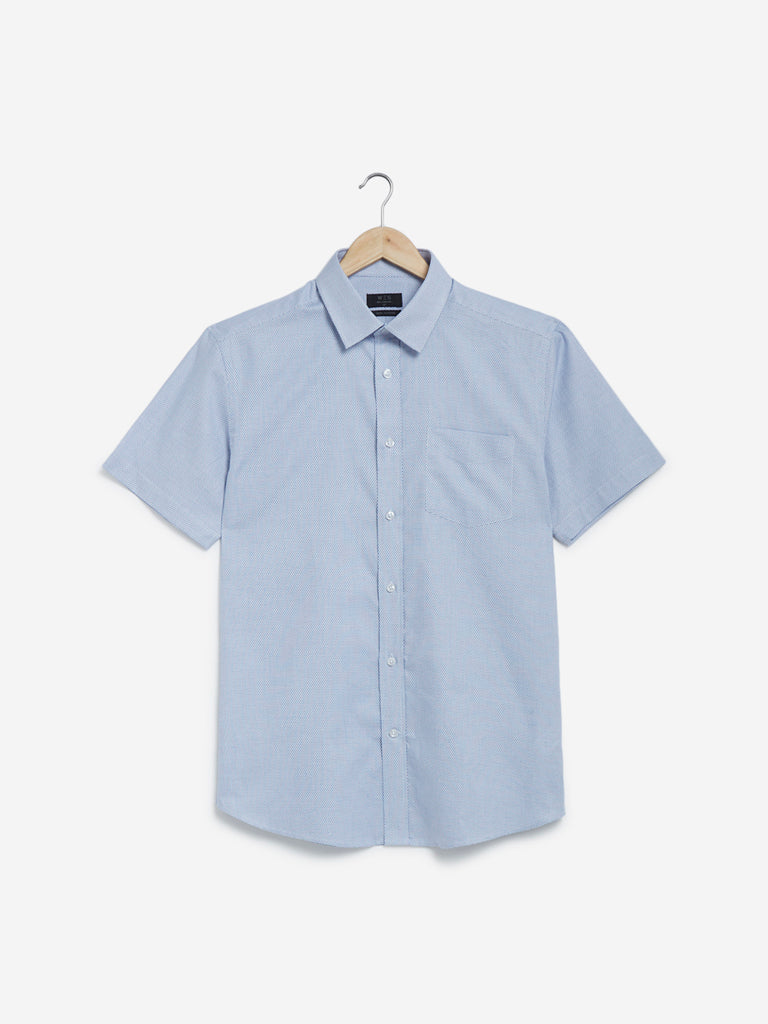 WES Formals Light Blue Diamond Relaxed Fit Shirt