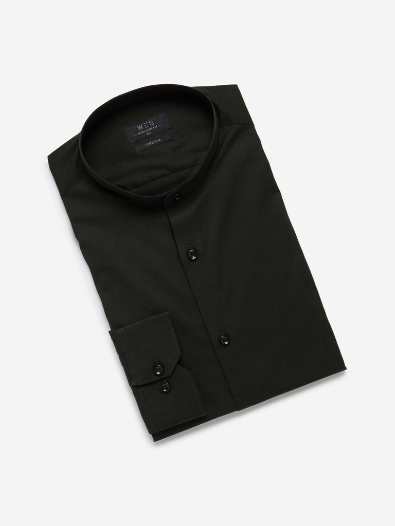 WES Formals Dark Olive Band Ultra-Slim Fit Shirt