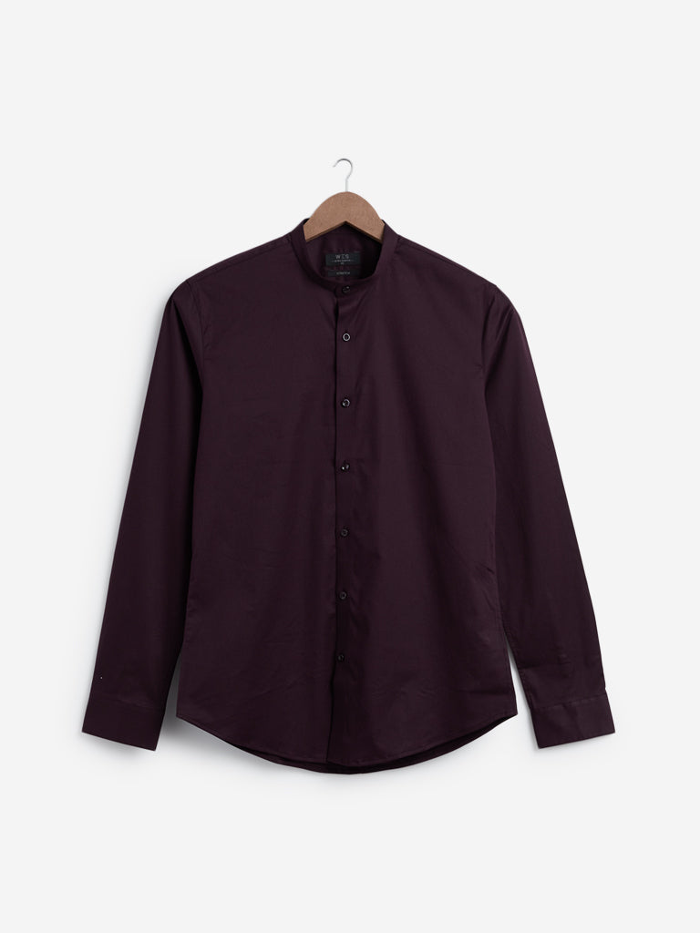 WES Formals Wine Ultra Slim Fit Shirt
