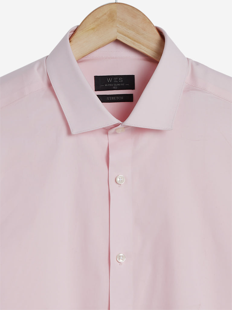 WES Formals Pink Ultra Slim Fit Shirt