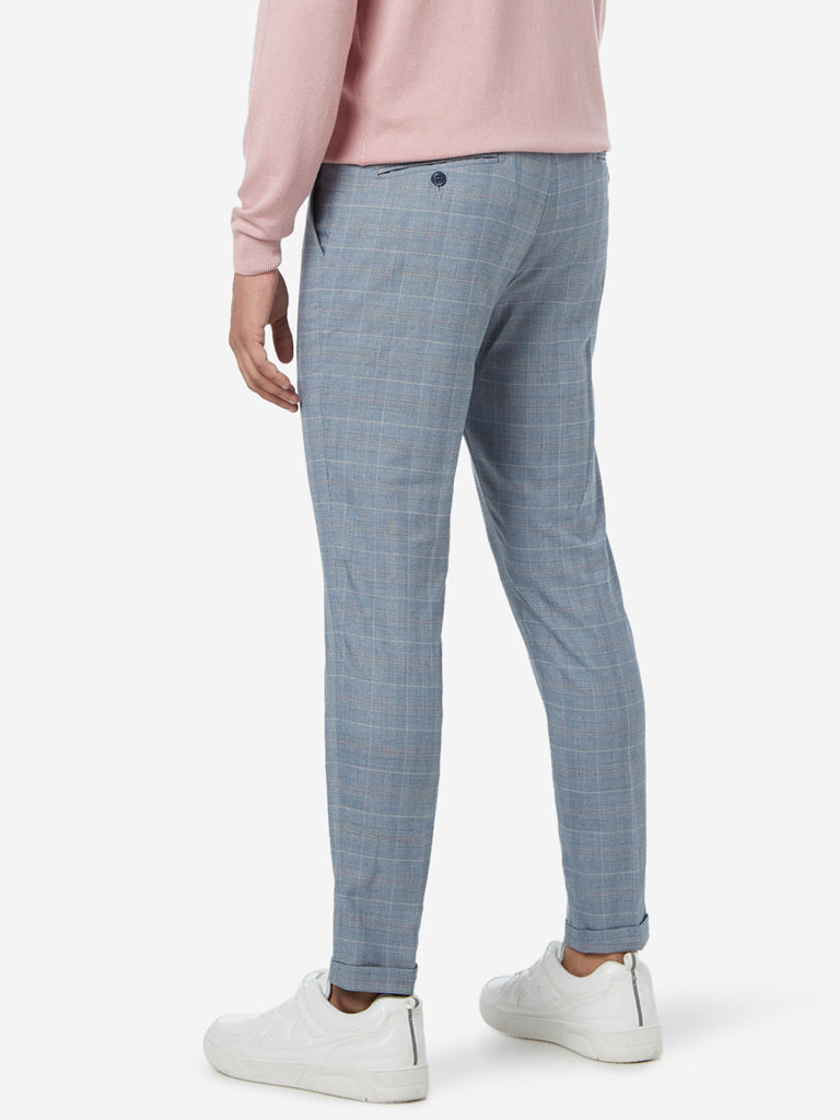 WES Formals Grey Carrot Fit Houndstooth Trousers