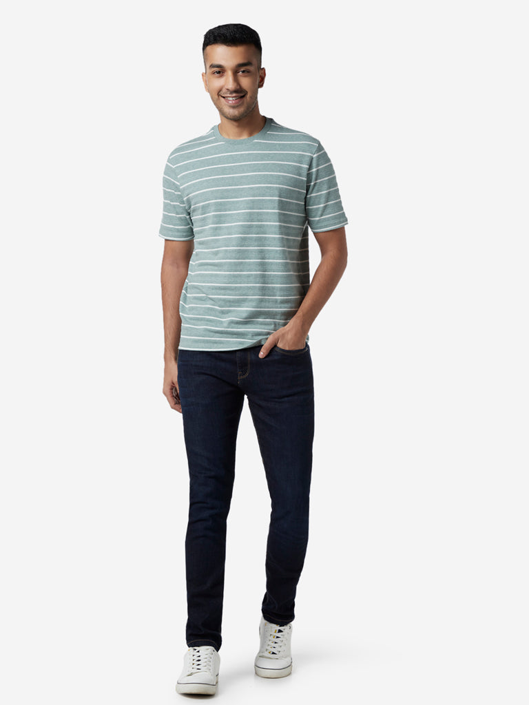 Ascot Sage Green Striped Relaxed Fit T-Shirt