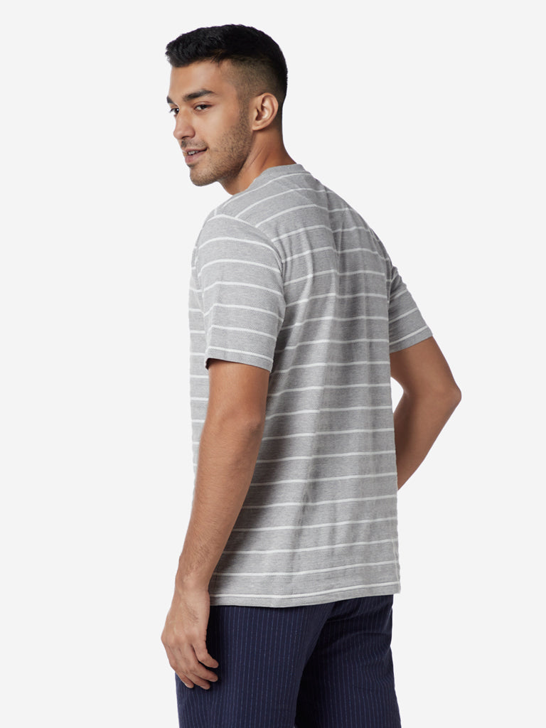 Ascot Light Grey Striped Relaxed Fit T-Shirt