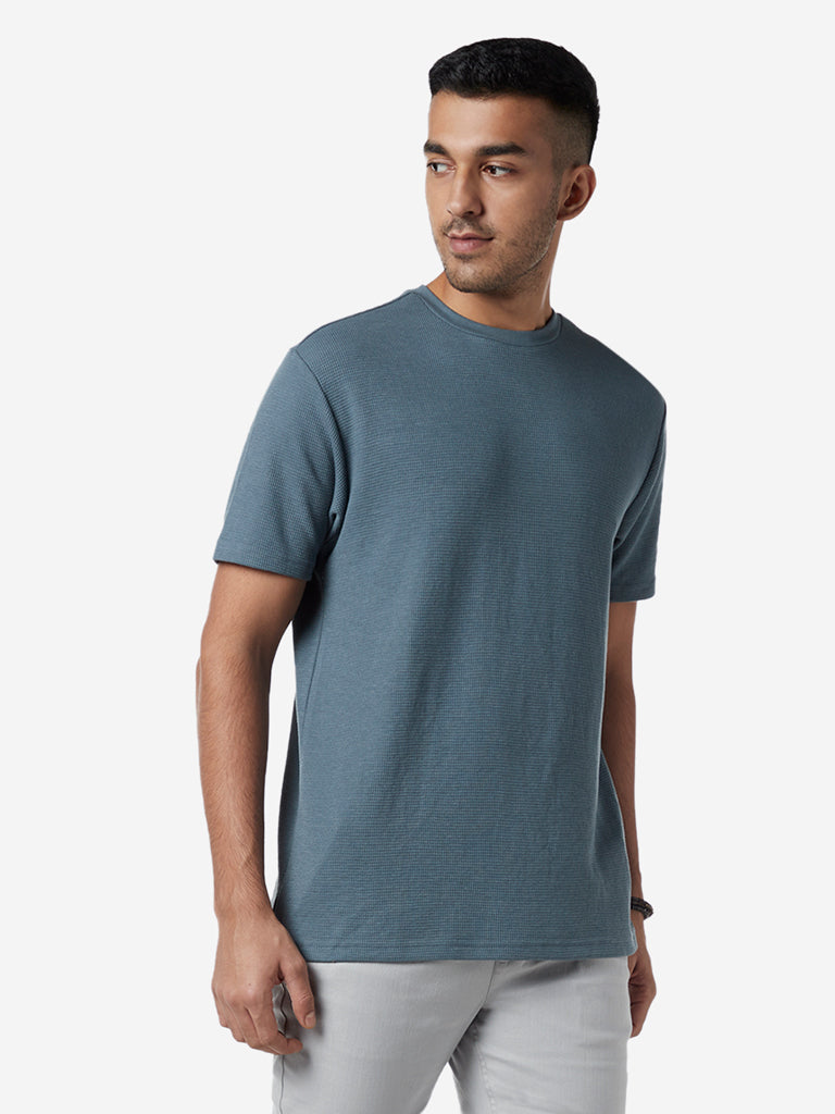 ETA Blue Slim Fit Crewneck T-Shirt