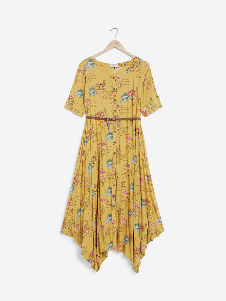 Bombay Paisley Mustard Floral Dress With Belt