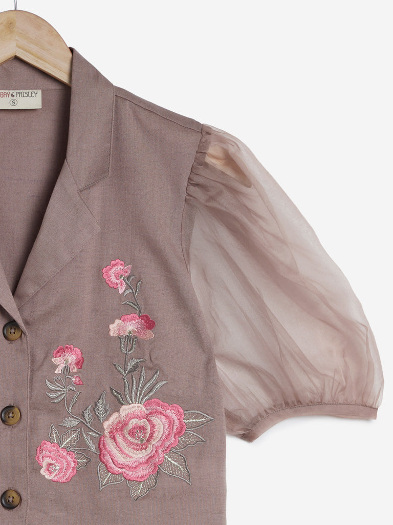 Bombay Paisley Taupe Floral Design Crop-Top