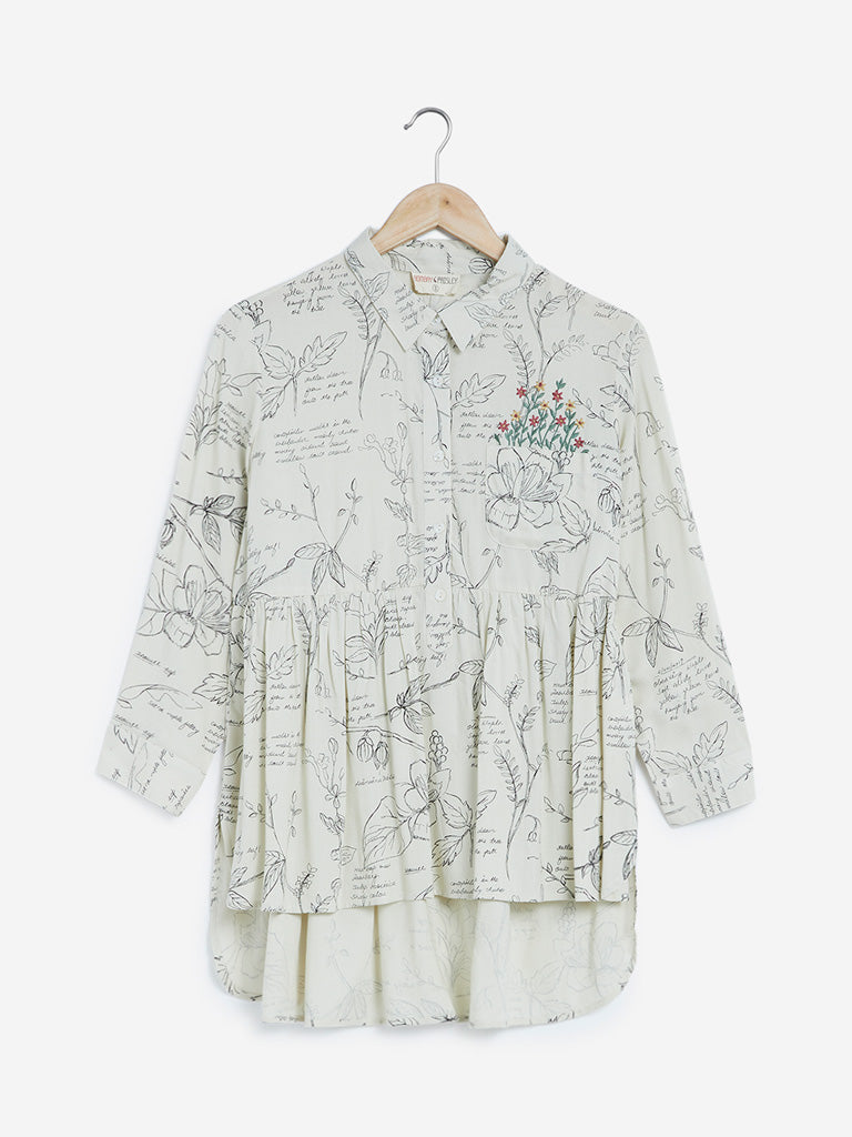 Bombay Paisley Off White Printed High-Low Tunic