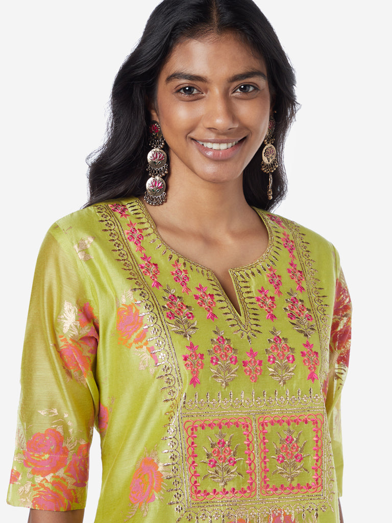 Vark Lime A-Line Floral Kurta And Palazzos Set