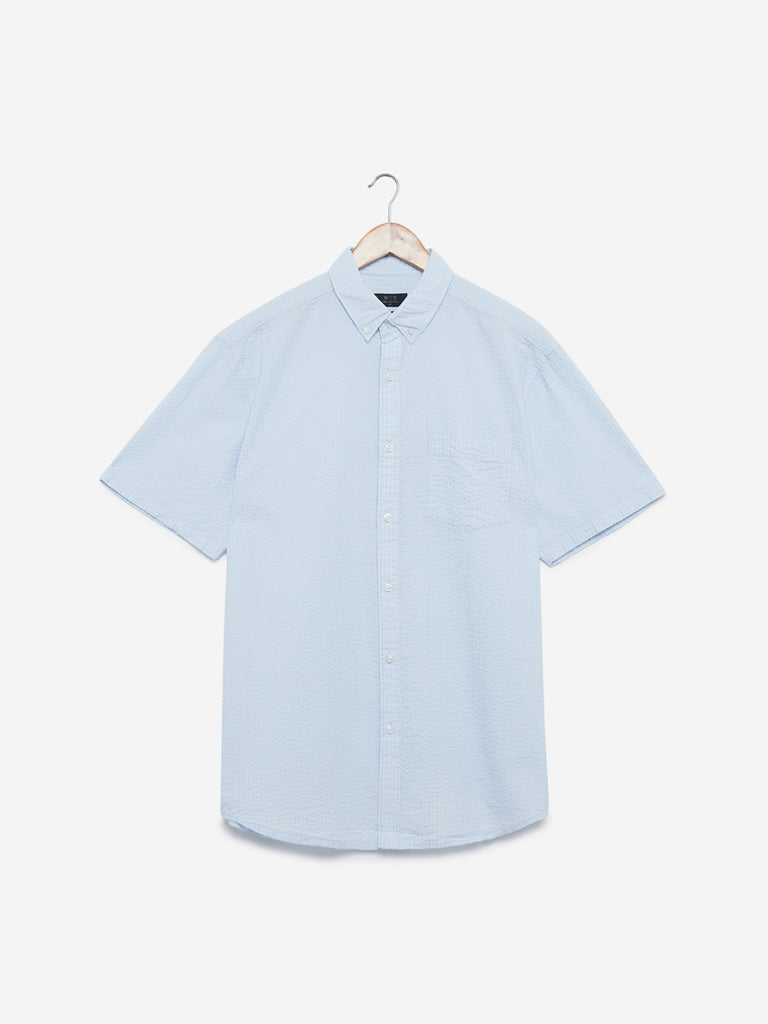 WES Casuals Light-Blue Relaxed Fit Shirt