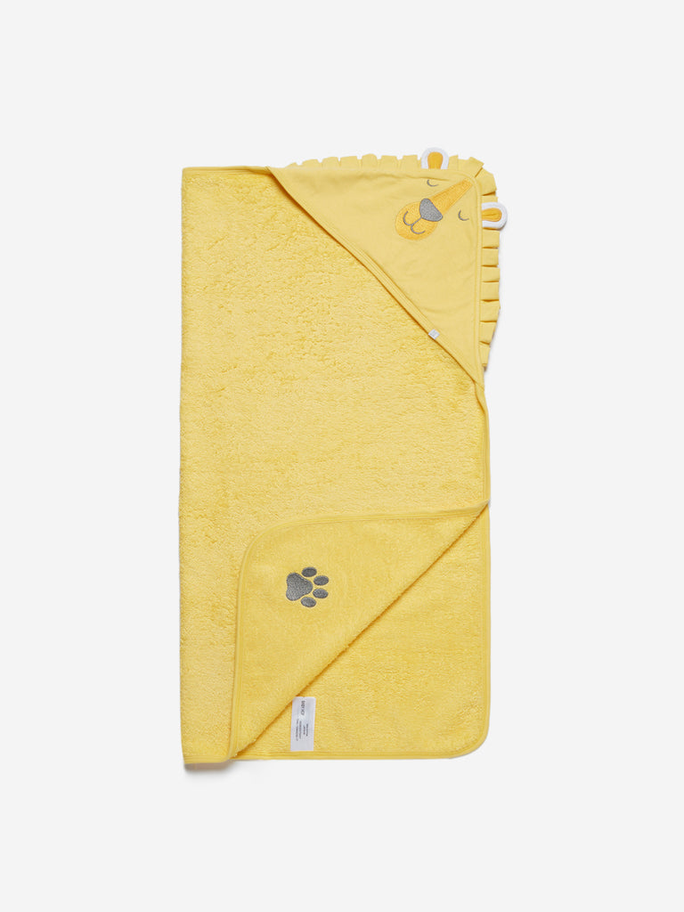 Baby HOP Yellow Lion Patterned Hooded Bath Towel