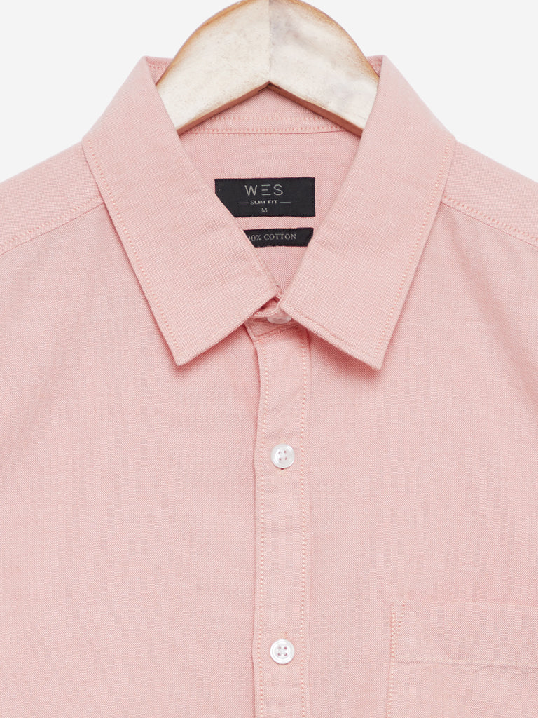 WES Casuals Peach Slim Fit Cotton Casual Shirt