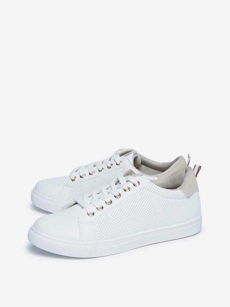 LUNA BLU White Perforated Sneakers