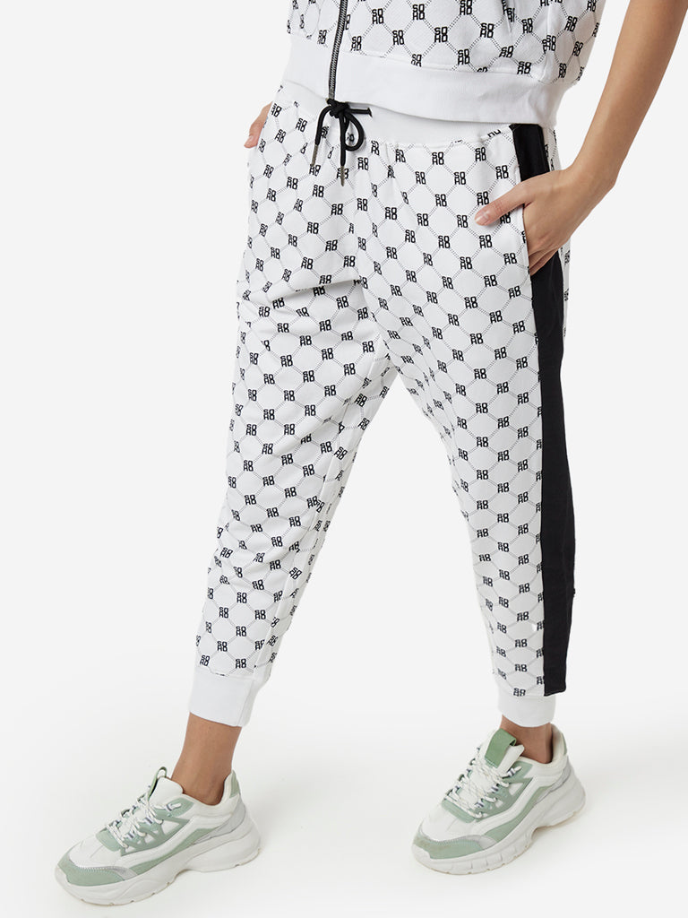 Studiofit Off White Text Print Joggers