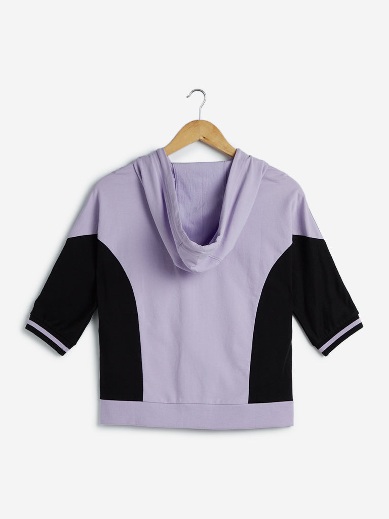 Studiofit Lilac Colour-Blocked Hooded T-Shirt