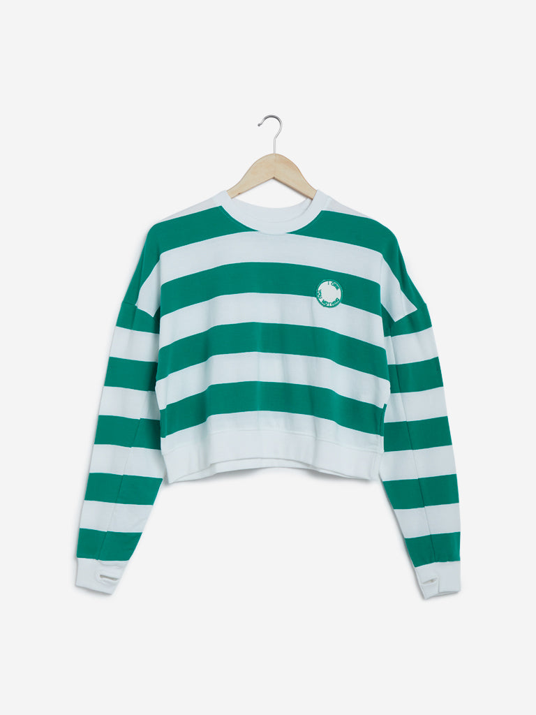 Studiofit Green Striped Crop Knit T-Shirt