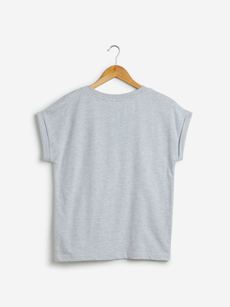 Studiofit Grey Typographic Design T-Shirt
