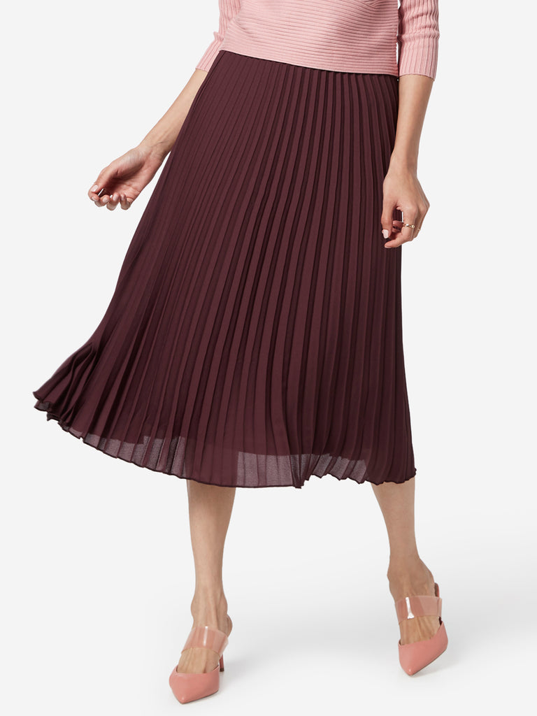 Wardrobe Wine Pleat Pattern Betty Skirt