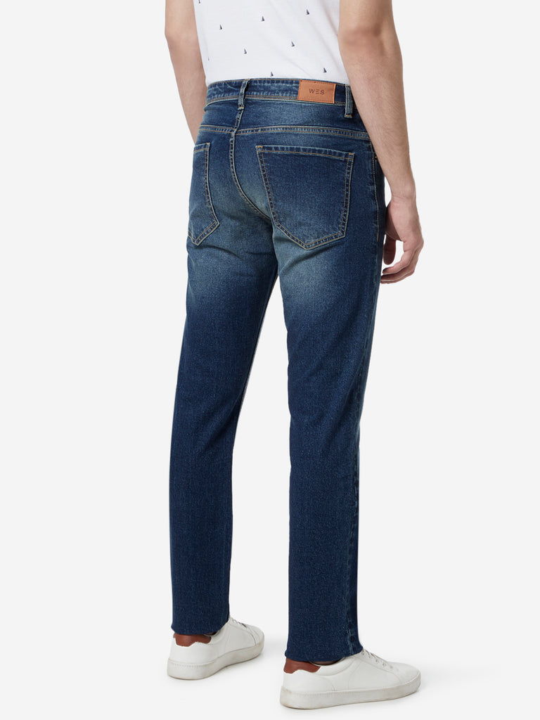 WES Casuals Blue Faded Relaxed Fit Jeans