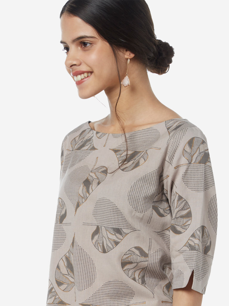 Utsa Grey Leaf Printed Straight Kurta