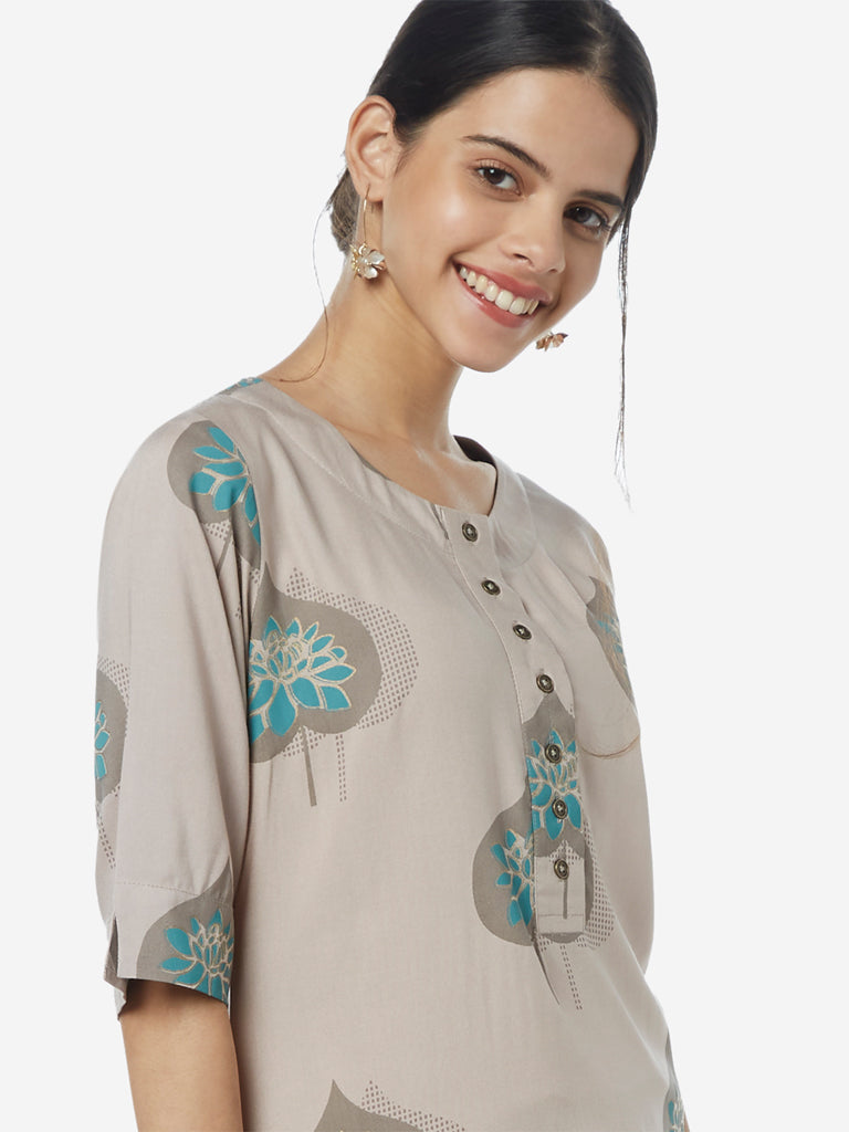 Utsa Grey Leaf Printed High-Low Kurta