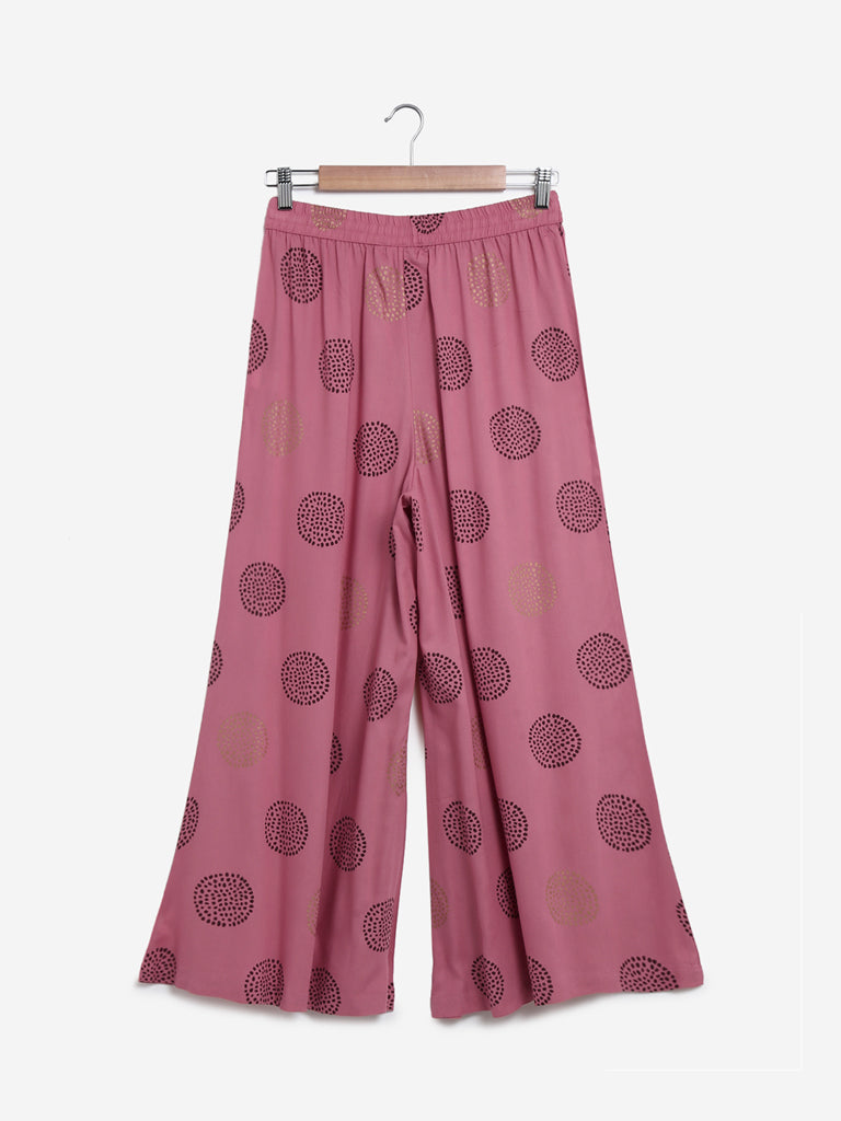 Utsa Light Pink Printed Palazzos