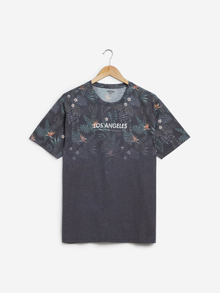 Nuon Grey Floral Printed Slim-Fit T-Shirt